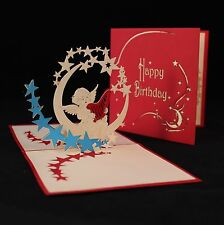 POP UP 3D birthday card - angel, harp & stars on the moon