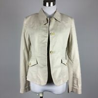 DKNY Womens Blazer Jack Size 6 Khaki Casual Unlined Hidden Button Front Pockets