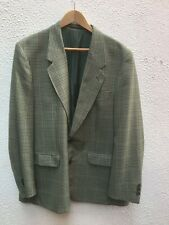 Mans Blazer Jacket 46 Green L Check Button Wool de Vernay France Vestra 117 cm