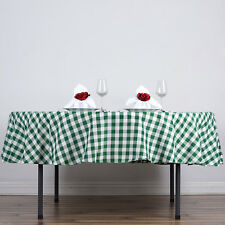 "Green White Checkered 90"" ROUND Polyester Tablecloth Picnic Event Linens Dinner"