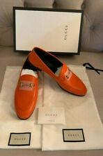 9ba437a58 Gucci Women Brixton Horsebit Convertible Leather Loafer Deep Orange Size 41  NIB!