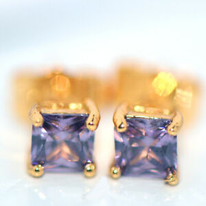 Small Womens Square Stud Earrings Gold Earings Jewelry Purple Stone Crystal