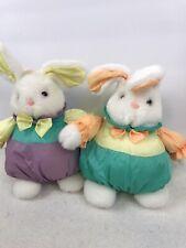 Vtg Puffy Nylon Bunny Rabbit Plush Lot of 2 Stuffed by Tb Trading Easter  00004000