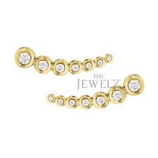 14K Gold 0.51 Ct. Genuine Diamond 22 mm Ear Climbers Earrings Fine Jewelry