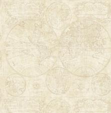 Tapete, Designtapete, antik, Weltkarte, Sackleinen, Schimmer, Sand, Creme, Beige