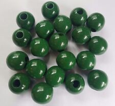 "Lot of 20 Green Wood Round Macrame Wooden Craft Plant Hanger Beads 1-1/4"" 32mm"