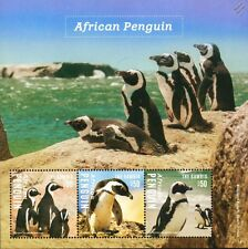 South African PENGUINS / Sea Bird Stamp Sheet 2014 Gambia / Sea Marine Life #22