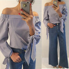 S-3XL Womens Fashion Off Shoulder Long Sleeve T Shirt Casual Loose Tops Blouse