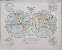 1898 Landkarte Welt Western & Ost Hemispheres Land Elevation Ozean Strömungen