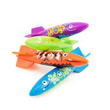 4pcs Water Torpedo Rocket Swimming Diving Pool Game Aqua Glide Splash Toy