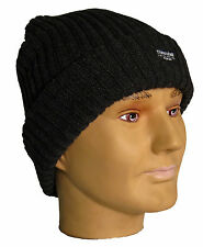 Mens Chunky Knitted Thermal Ski Beanie Black Hat Thinsulate Winter Fleece Lined