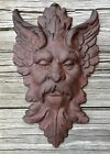 Cast Iron Gothic Medieval Rust-Colored Face Wall Hanging Plaque