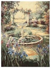 """""""FOUNTAIN"""" SCENE 38"""" 96CM BELGIAN TAPESTRY WALL HANGING, LINED, ROD SLEEVE"""