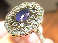 VINTAGE ANTIQUE  blue royal sapphire SILVER RING 7 MEDIEVAL NATURAL STERLING 925