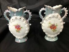 Antique Miniature Porcelain Vases (2) hand painted with gold highlights