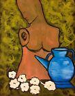 """""""diagonale bleue""""art contemporain nature morte peinture gouache sur papier 65x50"""