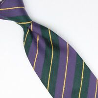 Josiah France Mens Wool Slub Silk Necktie Purple Green Yellow Repp Stripe Tie