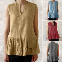ZANZEA Women Sleeveless Pleated Hem Blouse Summer Beach CaCamisole Shirt Tops