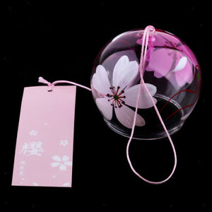 Japanese Style Glass Wind Chimes Outdoor Bell Home Decor Pink Cherry Blossom
