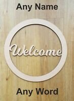 ANY NAME / WORD Welcome Personalised wooden name hoop wreath -Circle Loop Plaque