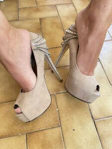 High Heels pumps Woman suede 37 brown well worn ladies platform sexy