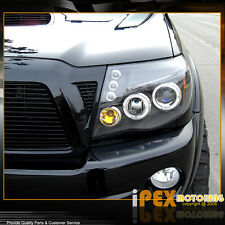 For All 2005-2011 Toyota Tacoma Halo Projector LED Black Headlights Headlamps