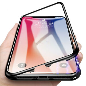 360°Magnetic Adsorption Metal Case iPhone 11Pro  XS Max 8 7 Tempered Glass Cover