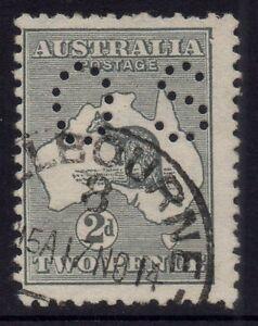 Australia - 1st wmk 2d grey kangaroo OS with ACSC listed variety - Used