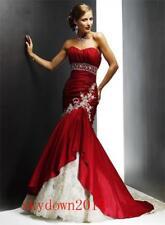 New Red Mermaid Lace Appliques Beads Wedding Dress 2 4 6 8 10 12 14 16 18 U879