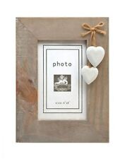 RUSTIC WOODEN PHOTO FRAME 6X4 WHITE HEARTS AND STAND CHIC & SHABBY