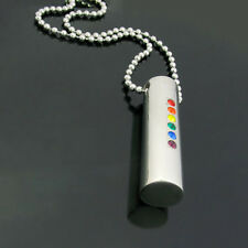 Stainless Steel Rainbow Pride Solid Drop Pendant with Coloured CZ's