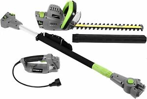 Earthwise CVPH43018 Corded 4.5 Amp 2-in-1 Convertible Pole Hedge Trimmer, Grey