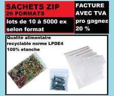 lot sac congélateur plastique fermeture ZIP Transparent 26 formats de 10-1000 ex