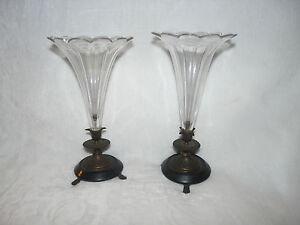 XIXe PAIRE Vases, Tulipiers en cristal pied NAPOLEON III  (294)