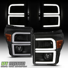 Black 2011-2016 Ford F250 F350 F450 SuperDuty Dual LED Tube Projector Headlights