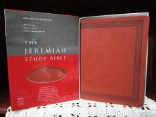** NKJV - The JEREMIAH STUDY BIBLE** Brown Leatherluxe (IMIT) **NEW!!   092