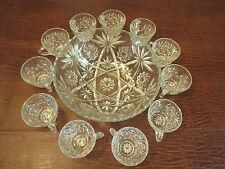 Punch Bol Wedding Vintage Glass punch bowl with 11 cups Star Pattern