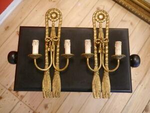 medium shape old brass sconces tassels loop ornaments wall lamps 2 lights