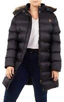 New Womens Long Maxi Fixed Fur Trim Hooded Paded Puffer Parka Winter Coats