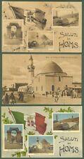 LIBIA. Homs. Tre cartoline d'epoca viaggiate (2 entro busta), anni venti.