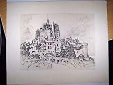 Original Etching by Georges Gobo: Les remparts du Mont-Saint-Michel