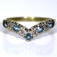 Stunning Topaz & Diamond 9ct Yellow Gold Half Eternity Wishbone ring N ~ 6 3/4