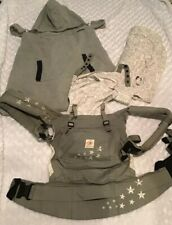 Ergo Baby Carrier, Infant Insert And Fleece Hooded Cover In Euc
