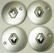 "RENAULT CLIO Scenic HUB CAPS Silver Centre Cap Alloy x4 SET 15"" Wheel Covers"