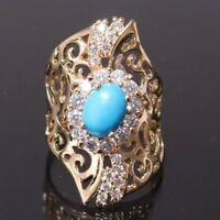 Vintage Antique Turquoise Diamond Ring Women Girls Wedding Jewelry Gift Size 6 7
