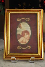 WONDERFUL SMALL ORIGINAL HAND COLORED ANGEL GLASS WITH A GOLD UPRIGHT FRAME NICE