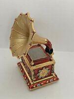 Jeweled Hinged Trinket Box Gramophone