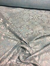 Blue Snowflake Jacquard Brocade 100% Silk and Metallic Fabric