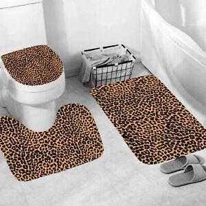 Leopard Shower Curtain Thick Bathroom Rug Bath Mat Non-Slip Toilet Lid Cover