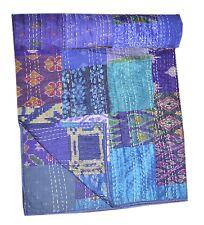 Indian Silk Sari Patchwork Kantha Quilt Queen Bedding Throw Reversible Bedspread